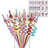 Reusable Ice Cream Straws-Plastic Drinking Straws for Kids Birthday Party Decorations - Ice Cream Theme Birthday Party Supplies - Set of 30(24 Ice cream Straws+6 ice cream Temporary Tattoos)