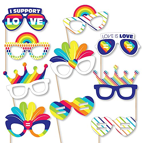 Big Dot of Happiness Love is Love – Gay Pride Glasses – Paper Card Stock LGBTQ Rainbow Party Photo Booth Props Kit – 10…
