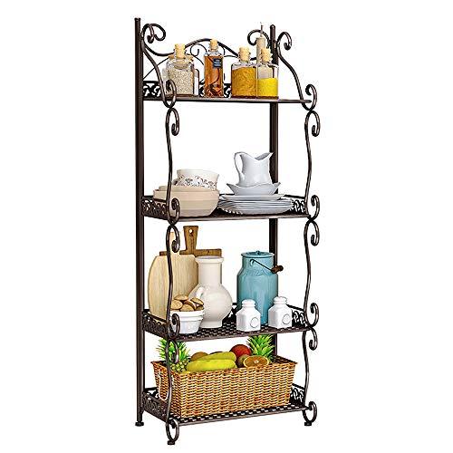MOAMUN Estantería de hierro vintage para colgar en la cocina, para flores, baño, decoración, 4 estantes, color marrón