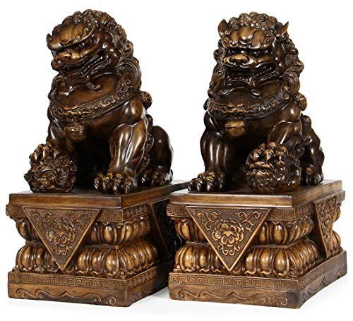 BOYULL Large Size Wealth Porsperity Pair of Fu Foo Dogs Guardian Lion Statues,Best Housewarming Congratulatory Gift to Ward Off Evil Energy,Feng Shui Décor