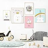 JSBVM Lienzo De Impresión Dibujos Animados de niños Cuadros Decorativos, Set de 5 Posters Modernos con Marco PS, se Puede Colgar, Carteles e Impresiones nórdicos Cuadros de la Pared,A,83x35inch