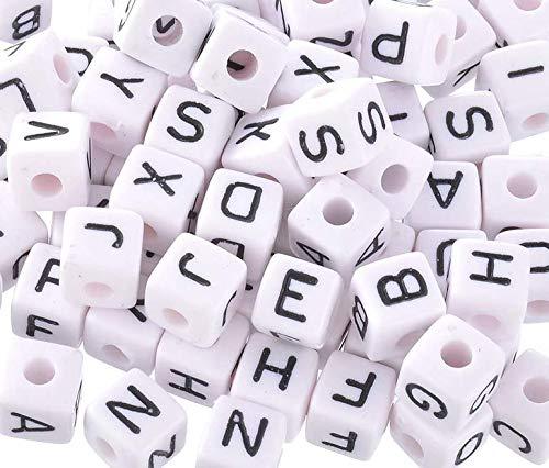 Handarbeit-Lieblingsladen Acryl Buchstaben 10x10mm Würfel Perlen Spacer Zwischenperlen  (100)