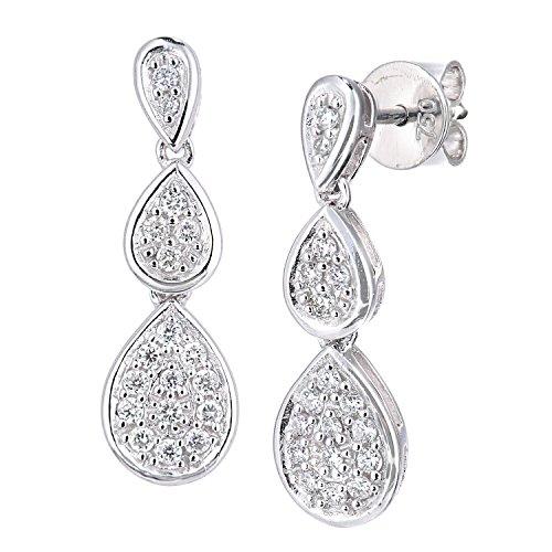 Naava Damen-Ohrstecker 18 Karat 750 Weißgold Rundschliff weiß Diamant PE05587W18