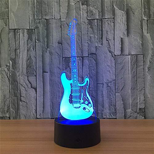 E-Gitarre 3D Optische Täuschung Tischleuchte Stimmung Lampe Touch Fernbedienung 7 Farben Home Light Party Decor Neuheit Geschenke Keine Fernbedienung