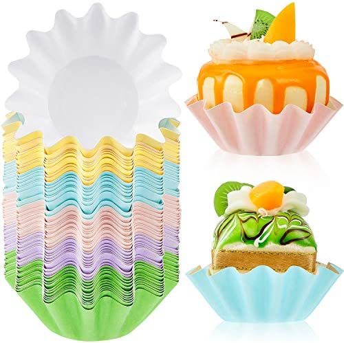 100 Pieces Wave Cupcake Liners Wrappers Flared Paper Baking Cups Disposable Muffin Liners for product image