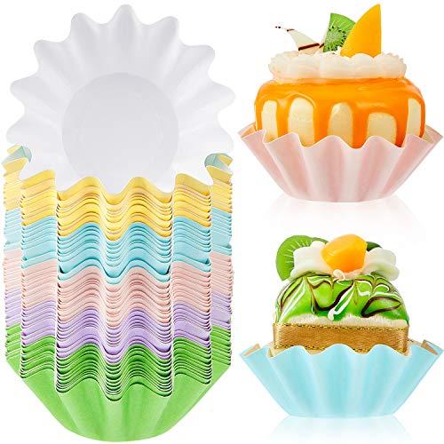100 piezas Wave Cupcake Liners Wrappers de papel acampanado para hornear, moldes desechables para magdalenas, magdalenas o mini bocadillos