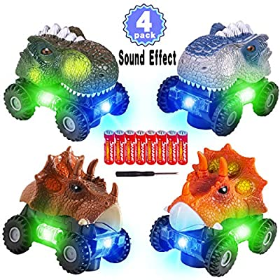 4 Pack Dinosaur Cars with LED Light & Sound Valentine's Gift Dino Car Toys Car Gifts Animal Vehicles Monster Truck Playset for Boys Girls Toddles Kids Birthday Gifts Classroom Prize Gift Exchange
