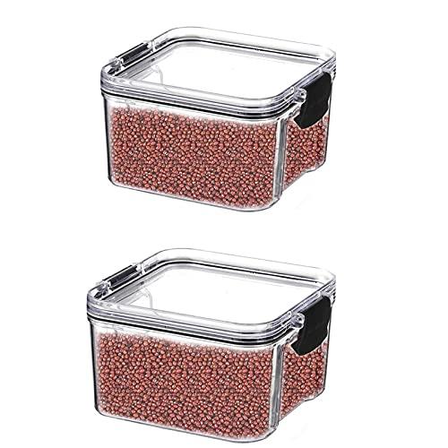 Annfly 2 recipientes cuadrados herméticos para almacenamiento de alimentos con tapas de bloqueo, apilables e irrompibles a prueba de humedad para granos, semillas, sal (transparente)