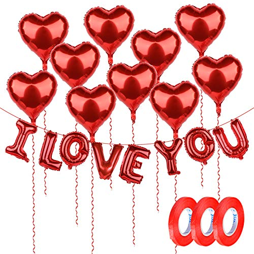 10pcs Globos Metalicos de Corazón 18in y I Love You 16in Rojos Decoración Boda San Valentín Fiesta Cumpleaños Boda Navidad con 30metros Cintas