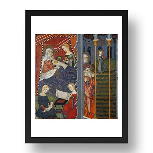 Period Prints Medieval Art, Maestro de Cinctorres - Arte vintage, reproducción A3 en marco negro de 17x13 (A3)