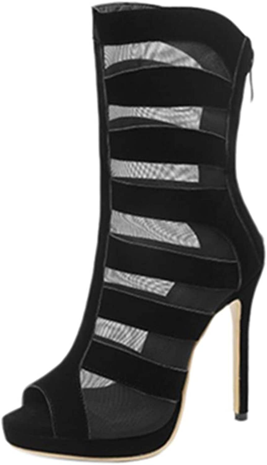 Mo Joc Women Sandal Boots with Open Peep and Sexy Stiletto