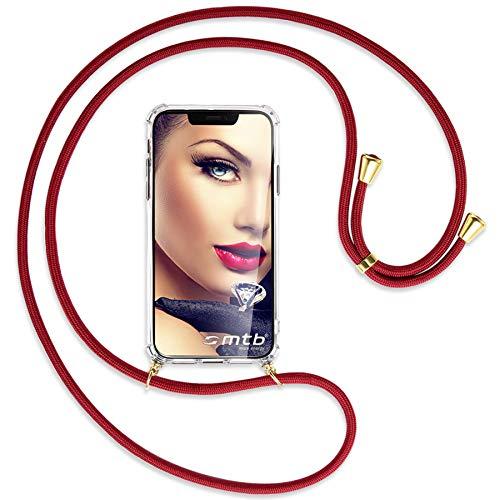 mtb more energy Collana Smartphone per Motorola One Action (6.3'') - Rosso Scuro/Oro - Custodia indossabile per Collo - Cover a Tracolla con cordina