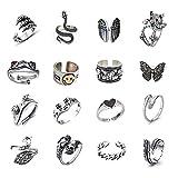 Lezmoii Juego de 16 anillos góticos ajustables para mujeres, hombres, adolescentes, niñas, punk, vintage, rana, calavera, corazón, cara sonriente, mariposa, gato, juego de anillos