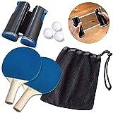 Kacsoo Ping Pong Juego de Tenis de Mesa, Red de Tenis de Mesa retráctil, Duradero (con 2 Raquetas, 3 Pelotas, una Bolsa y una Red retráctil) Juegos para niños Adultos en Interiores/Exteriores