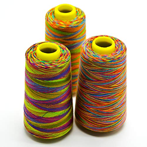 Rainbow Sewing Thread,3 Pack of 3000 Yards Each Spools(Regular Size),All Purpose Spun Polyester Thread for Regular Sewing, Quilting, Serger Machines, Overlock, Merrow & Hand Embroidery