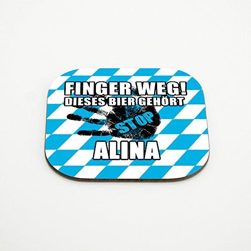 Untersetzer für Gläser mit Namen Alina und schönem Motiv - Finger weg! Dieses Bier gehört Alina