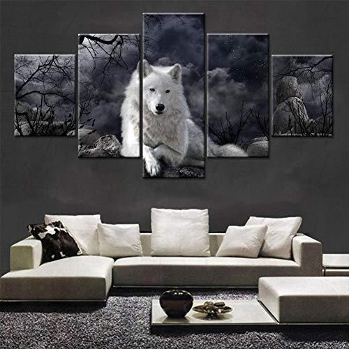 EXQART Leinwand HD Drucke Bilder Wohnkultur Für Wohnzimmer 5 Stücke Weiß Wolf Gemälde Wandkunst Tier Nightscape Poster Arbeiten 40x60cmx2 40x80cmx2 40x100cm