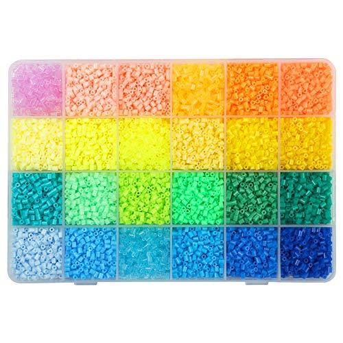 LIHAO 12000 Mini Cuentas y Abalorios Plásticos Cuentas para Planchar de 24 Colores para DIY Manualidad (2,6MM, Set A)