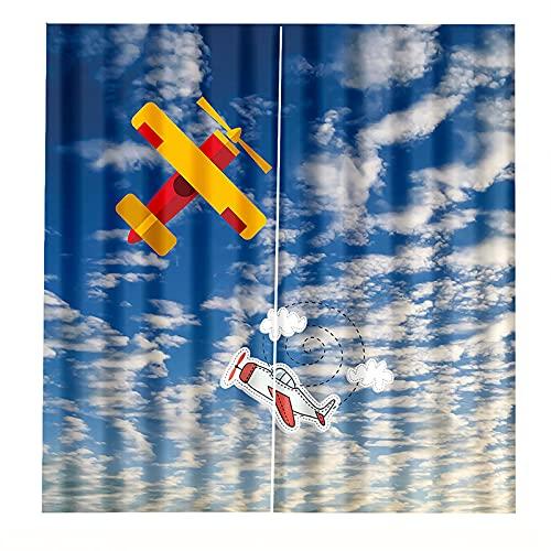 FACWAWF Stampa 3D Giallo Aeroplano di Carta Ombreggiatura Protezione Solare Isolamento Termico Tende Casa Tenda Decorazione Soggiorno Tende Camera da Letto 2xW168xH229cm