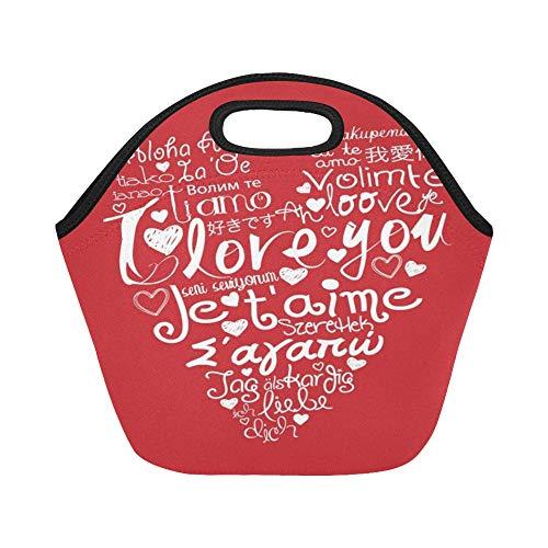 Bolsa de almuerzo de neopreno con aislamiento Corazón hecho Te amo Frase Bolsas de asas gruesas termales reutilizables de gran tamaño del almuerzo para las fiambreras