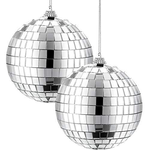 2 Paquetes de Bolsa de Discoteca de Espejo de 4 Pulgadas, Decoración de Fiesta Disco de 70s, Bola Colgante para Fiesta o Efecto de Luz DJ, Decoraciones de Casa, Accesorio de Escenario de Juego (Plata)