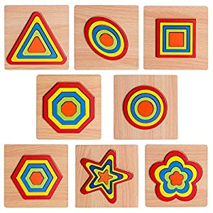 8 pcs Shape Puzzle Toddler Puzzles Games Wooden Toys Montessori Shape Sorting Puzzle Toddlers Activities Preschool Learning Early Educational Gift for Kids Age 1 2 3 4 5 6 Year Old