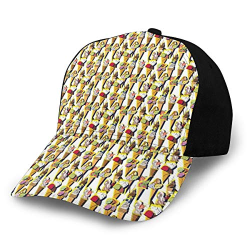 Hip Hop Sun Hat Baseball Cap,Repetitive Sweet Summer Dessert Pattern with Colorful Fruity Scoops On Cones,for Men&Women