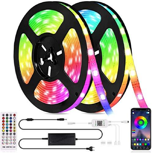 Tiras LED Alexa WiFi 5M, Tira LED RGB Inteligente con Control APP, Sync con Música y 7 Modo Escenas, Luces LED Funciona con Alexa, Google Home para la Habitación, Navidad y Fiestas, 12V
