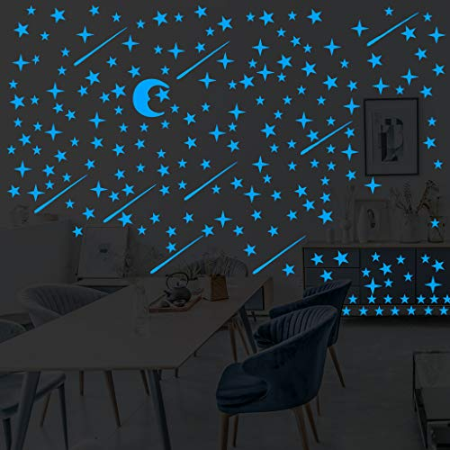 Murale Stickers Muraux Autocollants Lumineux Lune et Étoile Sticker Mural Lumineux Etoiles Fluorescents et phosphorescents dans l'obscurité Wall Sticker Décoration murale Chambre de bébé enfant