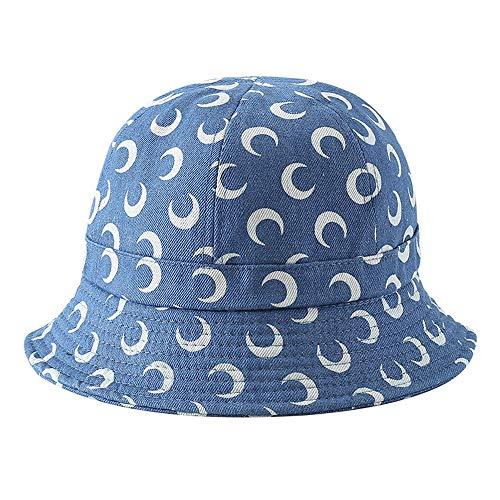 PIJN Enclos Cap Bonnet de pêcheur Pliable en Coton Cowboy Moon for Femmes Léger Quick Dry Respirant (Color : Blue, Size : One Size)