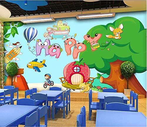 Fototapete 3D Effekt Wohnzimmer Vlies Fototapete Tapete Moderne Dekoration Wanddeko Wandbilder Glückliche Kinderzimmer-Vergnügungspark-Hintergrundwand Wandtapete Schlafzimmer Jugendzimmer
