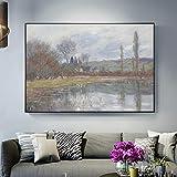 SADHAF Vetheuil Monet's Spring Impressionist Landscape Mural Replica Living Room Home Decor A6 70x100cm