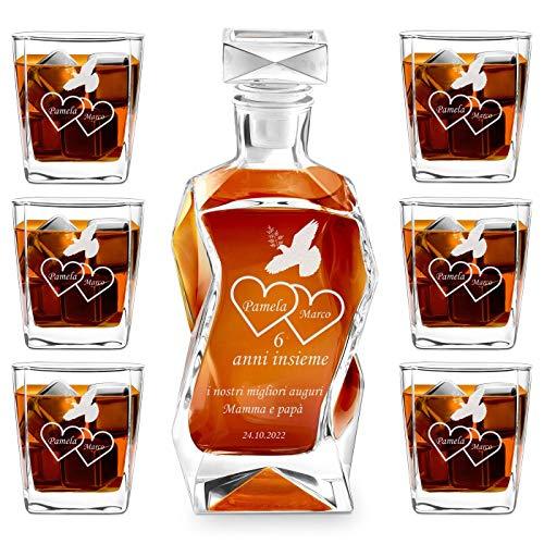 Murrano Set Decanter per Whisky in vetro - da 700 ml - incisione personalizzata - Caraffa con 6 bicchieri - idea regalo per l'anniversario - La colomba
