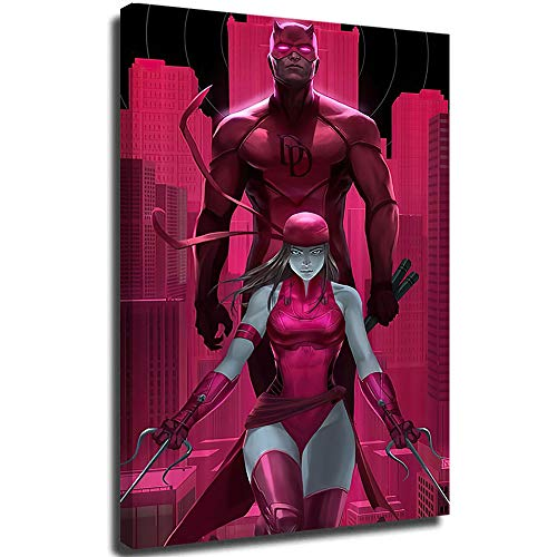 Megiri Art Wall Decor Superhero Daredevil - Lienzo enmarcado (45,7 x 60,9 cm), color rosa