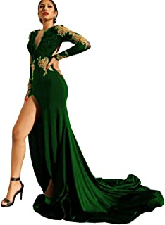 QBEBRIDAL Women's Beaded Gold Appliques Mermaid Dresses Long Sleeve Side Slit Evening Gowns with Train