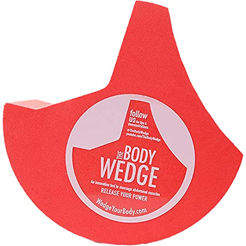 The BODY WEDGE Relieves Hip, Knee, and Lower Back Pain - Psoas Relief Rocker - Personal Abdominal Massager Tool - Use Before Stretching and Strengthening Core Muscles - Red, Large