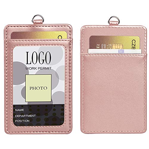 Badge Holder, Arae PU Leather Vertical ID Badge Card Holder with Detachable Lanyard/Strap (Rose Gold)