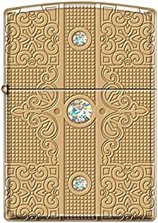 Zippo Luxury-Deep Carved Heavy Walled Solid Brass Armor Lighter with 3 Swarovski Crystals