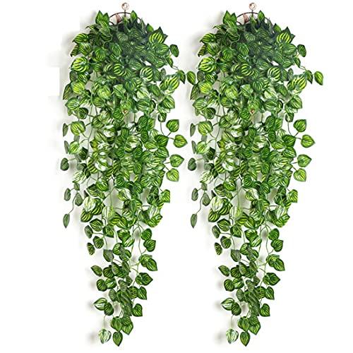 papasgix 2 Pezzi Pianta Artificiale, Edera Artificiale, Piante Edera Artificiali da Appendere alla Parete Finte Edera Plastica Piante Appeso Vine Verde Pianta per Decorazione(Anguria,2 Pezzi)