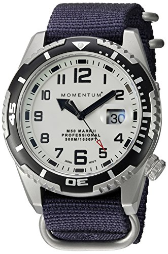 Momentum Men's M50 Mark II Stainless Steel Japanese-Quartz Diving Watch with Nylon Strap, Blue, 22 (Model: 1M-DV52L7U)