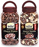 Swad Choco Flakes Choco Vanilla Flakes Combo Of 2 Jars (Wholegrain Chocolate Breakfast Cereal Chocos kidsss) Jar 700 G