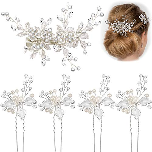 5 Stück Braut Strass Haarnadeln Hochzeit Haarspangen Braut Haarteil Blütenblätter mit Kunstperlen Haarspange für Hochzeit Haarschmuck (Silber)