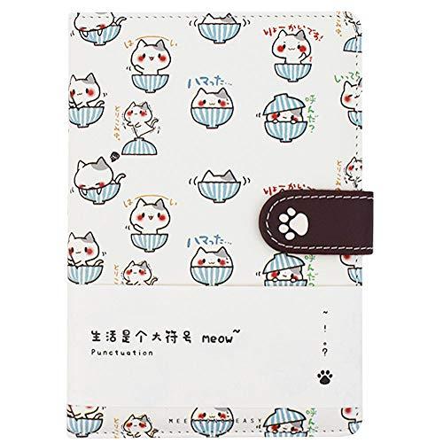 Millya Notizbuch mit süßem Cartoon-Katzen-Motiv, PU-Leder-Einband, Notizblock, Tagebuch, Schreibblock, Notizblock (Z-Weiß)