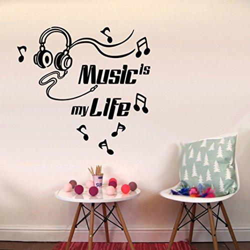 Alikey 44 x 54 cm ❤ ️ De muziek is mijn leven afneembaar, vinyl, muurstickers, muurstickers, boom foto, muurstickers, woonkamer, boom, 3D-muurstickers, muurstickers, 3D-muurstickers, planten, muursticker, vogels, wanddecoratie voor de woonkamer Prime Day