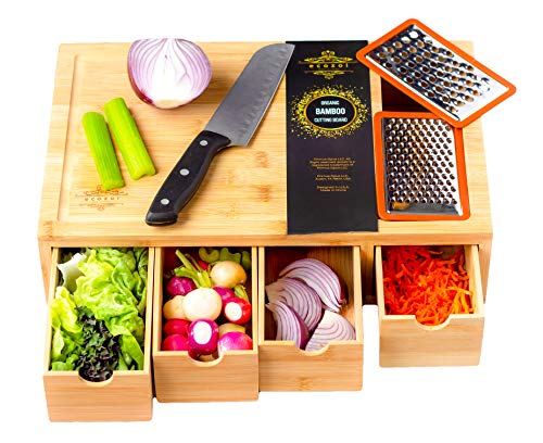 Ecozoi Extra Large Bamboo Cutting Board With 4 Bamboo Drawer Organizer Trays, Kitchen Cutting Boards, Chopping Boards, Butcher Block | Ergonomic Cutting Board With Storage, 2 Bonus Shredders