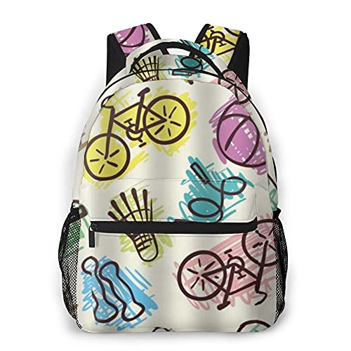 COVASA Casual Style Schulrucksack Reise Bookbag,Fahrrad Hantel Springseil Tischtennisschläger Malerei Sport,Großer Schüler Kind Erwachsene Rucksack Für 15,6 'Laptop