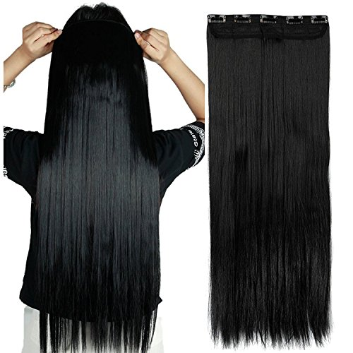 S-noilite 17/23 Curly Straight 3/4 Full Head One Piece 5clips Clip in Hair Extensions Long Poplar Style for Girl Lady Women 48 colors (23 - Straight, Dark Black)