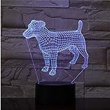 Lámpara 3D Ilusión Visual Caniche Jack Russell Terrier Rottweiler Dobermann Niños Luz de Noche Lámpara de Estilo de Perro