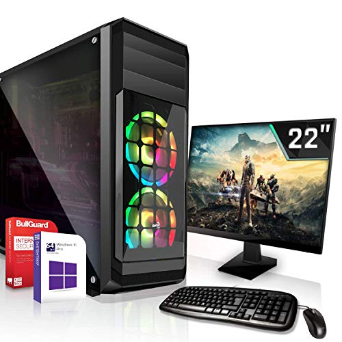 Gaming Komplett PC Set AMD PRO A10-8770 4x3.8GHz  Marken Board 22 Zoll Monitor Radeon HD R7 - max. 4GB - HyperMemory 120GB SSD ohne Laufwerk Windows 10 Pro WLAN 3 Jahre Garantie