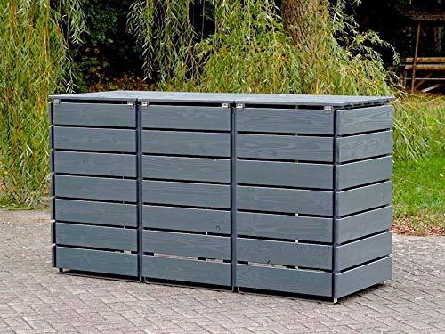 3er Mülltonnenbox / Mülltonnenverkleidung 240 L Holz, Deckend Geölt Tannengrün - 4